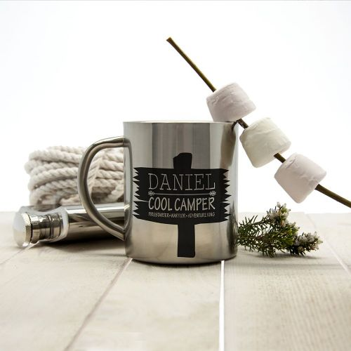 Personalised Cool Camper Driftwood Outdoor Mug